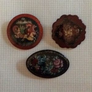Jewelry - *FIRM* Three Gorgeous Russian Lacquer pins